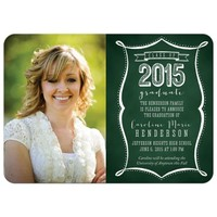 Class of 2015 Graduation Photo Announcements - Green Chalkboard Typography