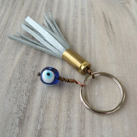 Bullet Tassel Keychain - Ice Blue Leather Tassel with Evil Eye Bead Charm