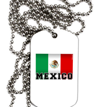 Mexico Flag Adult Dog Tag Chain Necklace