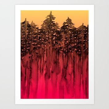 FOREST THROUGH THE TREES 12 Hot Pink Magenta Orange Black Landscape Ombre Abstract Painting Outdoors Art Print by EbiEmporium