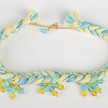 Designer textile jewelry handmade stylish necklace made of cotton threads