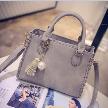 Retro Gray Leather Crossbody Shoulder Handbag