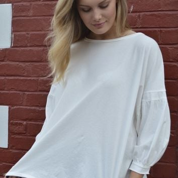 En Blanc Balloon Sleeve Top