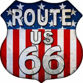 American Flag Route 66 Highway Shield Sign  11 inch  die cut  sign