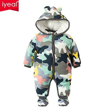 IYEAL 2017 NEW Baby Rompers Winter Thick Warm Baby boy Clothing Camo Long Sleeve Hooded Jumpsuit Kids Newborn Outwear for 0-12M