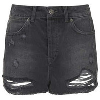 MOTO Ripped Denim Hotpants - Denim  - Clothing