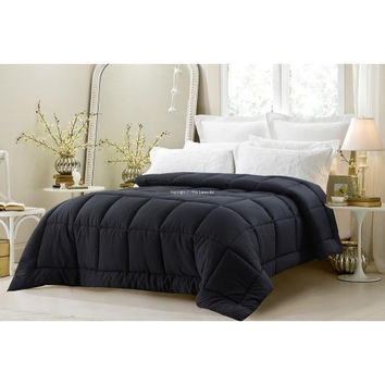 Super Oversized- Black Down Alternative Comforter in Queen Size