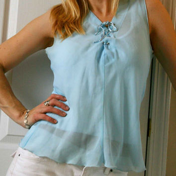 Vintage Light Blue Sheer Tank Top.