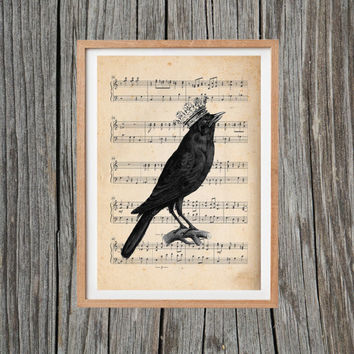 Vintage Crow Print Music Sheet Poster Antique Wall Art