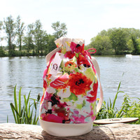 Handbag, pink red orange flowers bag, spring summer fashion bag, trendy chic large handbag, luxury fabric beach bag, hand made in france