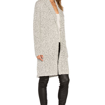 Vince Multicolor Shawl Collar Car Coat in Heather Steel