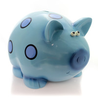 Bank Blue Piggy Bank  W/ Circles Bank