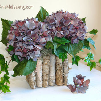 fall floral arrangement centerpiece birch bark wood vases flower pot rustic hydrangea baskets wedding garden party centerpieces