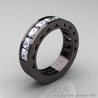 Mens Modern 14K Black Gold Princess White Sapphire Channel Cluster Sun Wedding Ring R274-14BGWS