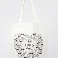 Pugs & Kisses Canvas Tote