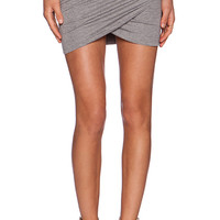 Bella Luxx Shirred Cross Front Skirt in Gray