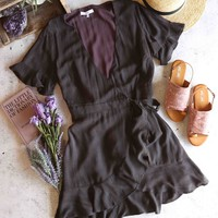 honey belle - mineral washed short sleeve wrap dress - charcoal
