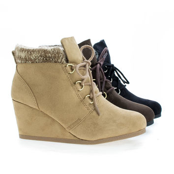 Poppet Round Toe Lace Up Knitted Ankle Collar Wedge Booties