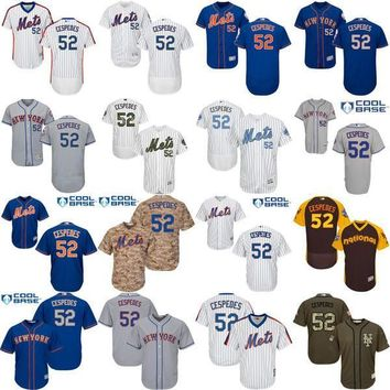 2017 New York Mets #52 Yoenis Cespedes White Pinstripe Pull Down Blue Gray Camo NY MLB Baseball Jerseys all stitched size s-4xl Top Quality