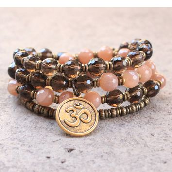 Genuine Faceted Sunstone and Smoky Quartz 54 Bead Mala Necklace Or Bracelet with Om Pendant