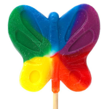 Giant 2.5-Ounce Butterfly Lollipops - Primary Colors: 16-Piece Case