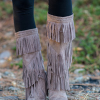 Giddy In My Vintage Boho Fringe Boots-Taupe