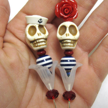 Rockabilly Day of the Dead Cake Topper Sugar Skull Gothic Wedding Pin Bride Groom