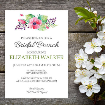Watercolour Floral Bridal Shower Invitation and Name Tags | DIY Instant Download MS Word Document |  Bridal Brunch