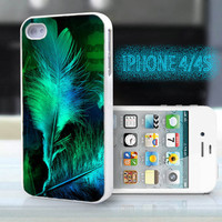 unique iphone case,glitter i phone 4 4s case,cool cute iphone4 iphone4s case,stylish  plastic rubber cases, green  feather, bp912