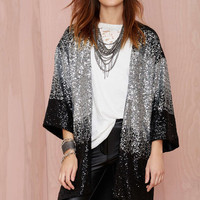 Casual Sequin Open Front Blazer