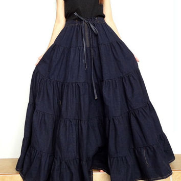 Women Extra Large Denim Long Skirt , Casual Ruffle Patchwork ,Cotton Denim Medium weight Dark blue (Skirt *R2).