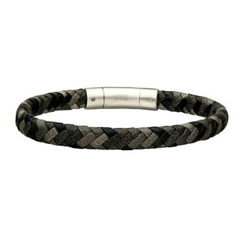 Black & Gray Braided Leather Men's Bracelet 8""