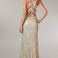 Floor Length V-Neck Sequin Prom Dress