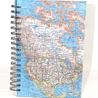 Wire Bound Spiral Bound Journal Vintage Map OOAK