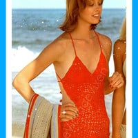 1970s Red Maillot-Sexy OnePiece Swimsuit-Vintage Crochet Pattern-Sexy Floral One Piece- Flower Swim Suit-Maillot-Bathing Suit-eVintageVixen