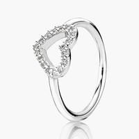 Women's PANDORA 'Be My Valentine' Ring - Silver/ Clear