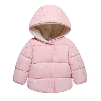 Pink, Blue, White Stars Collection Kid Child Baby Toddler New Born Infant Winter Snow Coat
