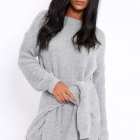 GREY TIE FRONT KNITTED JUMPER DRESS - HARLEY