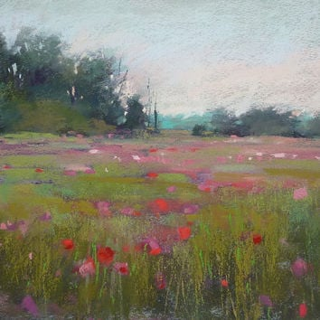 Summer Romantic Landscape with Pink POPPIES Original Pastel Painting  Karen Margulis