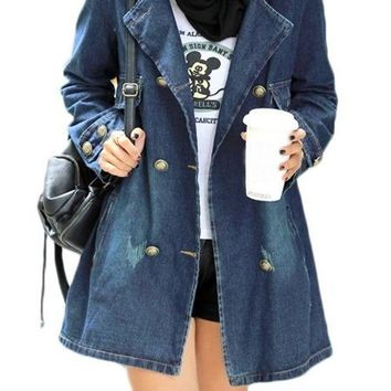 Streetstyle  Casual denim Plain Breasted Fabulous Lapel Trench Coats