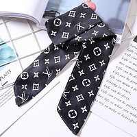 LV tide brand female letter printing multi-purpose small scarf black