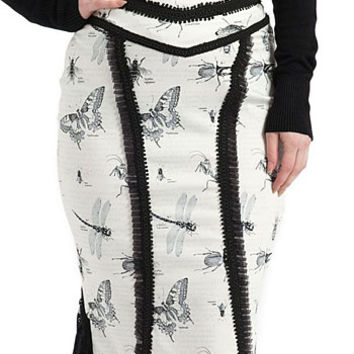 Insect Study Victorian Pencil Skirt