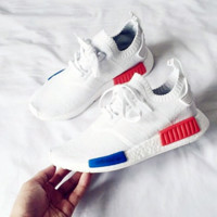 """Women """"Adidas"""" NMD Boost Casual Sports Shoes white (blue orange soles)"""