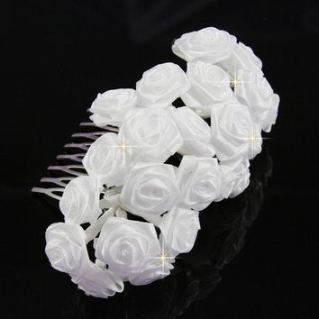 Million Roses White Bridal Hair comb by OliniFloral on Etsy