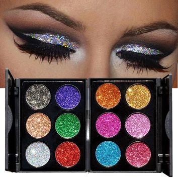 2018 Makeup 6 Colors Waterproof Glitter Eyeshadow Palette