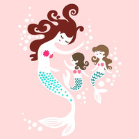 "8X10"" mermaid mother & two daughters giclee print on art paper. pink, teal, hershey and malt brown brunette hair."