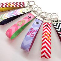 Monogram Wristlet Key Fob Chevron Patterns Up to ONE Letter, over 70 Fabrics, 4 Fonts