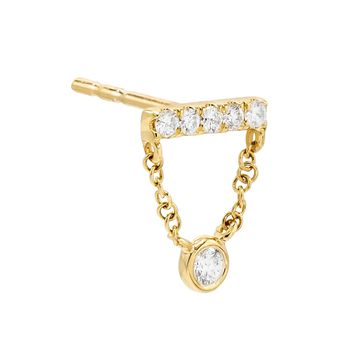Diamond Bar Bezel Stud Earring 14K