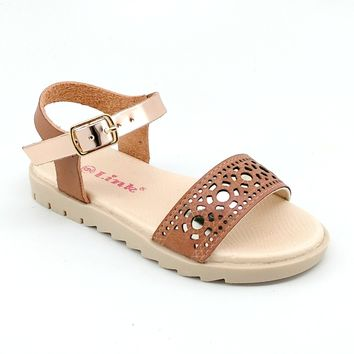 Girl's Tan Summer Sandals with Laser Cut Detail