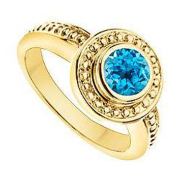 Blue Topaz with Bead Trimmed Solitaire Ring : 14K Yellow Gold - 1.00 CT TGW